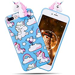 Funda iPhone 7 Plus / iPhone 8 Plus, iPhone 7 Plus Funda Silicona, SpiritSun Soft Carcasa Funda iPhone 7 Plus Kawaii 3D Diy Case Carcasa Goma Flexible Ultrafina TPU Bumper Shock- Absorción y Anti-arañazos Parachoques Protectora Carcasa para iPhone 7 Plus / iPhone 8 Plus (5.5 pulgadas) - Azul