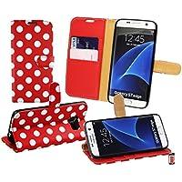 Emartbuy® Polka Dots Premium PU-Leder Desktop-Ständer Wallet Fall Tasche mit Kreditkarte Slots für Samsung Galaxy S7Edge–Rot/Weiß