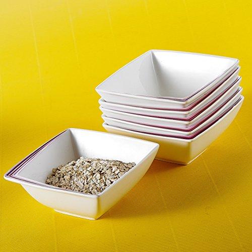 """Malacasa, Serie Rebeca, 6-tlg. Set Porzellan Schüssel 5,25"""" Frühstück Schalen Müslischale Reisschüssel Salatschüsseln Dessertschalen Bowl für 6 Personen, Lila"""