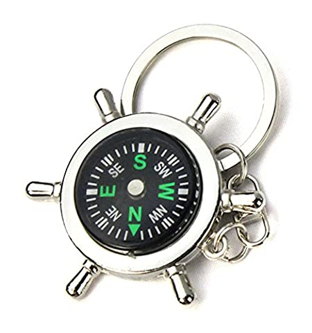 SaySure - Portable Alloy Silver Nautical Compass Helm Keychain