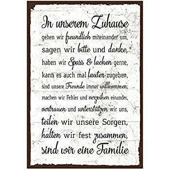 holzschild mit spruch familie regeln hausordnung shabby chic retro vintage nostalgie. Black Bedroom Furniture Sets. Home Design Ideas