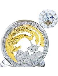 Ogle impermeable oro Phoenix blanco fases y Tourbillon luna colgante collar cadena llavero automático mecánico reloj de bolsillo