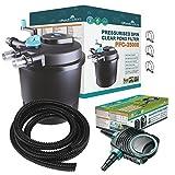 25000L Druckfilter + 36w UVC Sterilisator + 12000L/H Teichpumpe +10 Meter Teichschlauch Teichfilter Teich Filter
