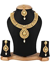 Jewels Gold Antique Traditional Latest Designer Fancy Necklace With Earrings Set & Maangtika For Women & Girls