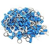 100x Stück Ringkabelschuhe in blau 1,5-2,5mm² Loch-Ø M8 Teillisoliert PVC Anschlussklemme Kabelschuh Kabel-Verbinder aus Kupfer verzinnt