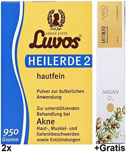 Preisvergleich Produktbild 2x 950g Luvos Heilerde 2 hautfein - Öl + Gratis 45ml Argan - Öl Handlotion