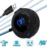 Carte Son USB 7.1 Externe, Beexcellent Adaptateur Audio avec Port 2 USB 3,5mm Audio Stéréo Micro Jack pour PC Laptop MAC Windows IOS (blue)