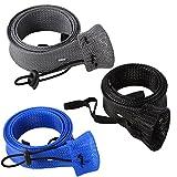 lintimes geflochten Angel Bezüge Socke 3er Pack Spinning Baitcast-Rod Sleeve erweiterbar 170,2x 4,1cm Angeln Handschuhe Displayschutzfolie, blue+black+gray