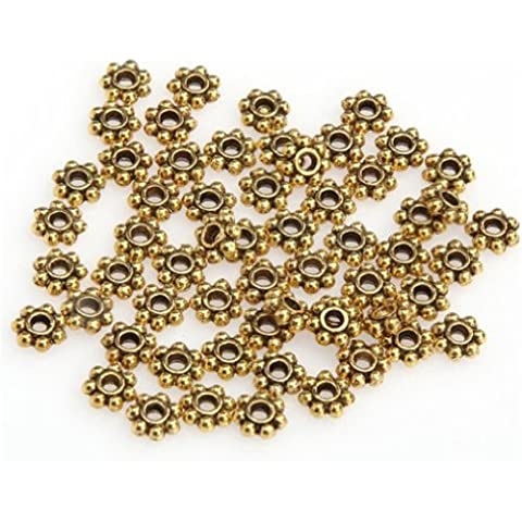 DUMAN 100pcs Golden Daisy Flower Jewellery Making Spacer Beads 6mm