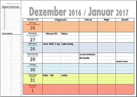 XL Familienkalender 2018 Deutschland A4 quer-Format 53 Wochen 3 +1 Allgemein Spalten OHNE Namenseinträge&OHNE Ferien mit Ringbindung (Dezember Kalender 2016 Weihnachten)