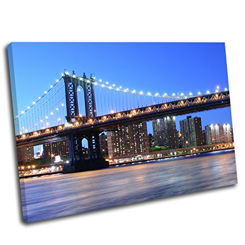 Canvas Culture Leinwandbild, Motiv: Stadtbild New York City Brooklyn Bridge 36x24 Original