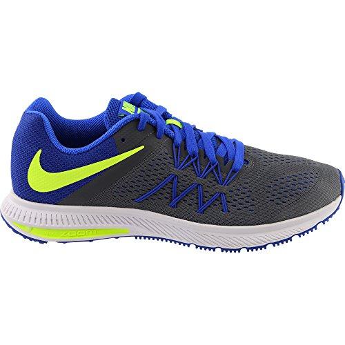 Nike Zoom Winflo 3, Chaussures de Running Entrainement Homme Gris (Dark Grey / Volt-Racer Blue-White)