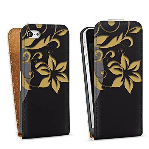 Apple iPhone 4 Housse Étui Silicone Coque Protection Fleurs Fleurs Ornements Sac Downflip blanc