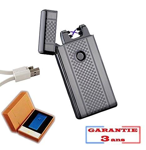 Briquet électrique double arc dual à impulsion métal luxe JECO® USB rechargeable plasma pulse inferno sans flamme (Noir modèle damier)