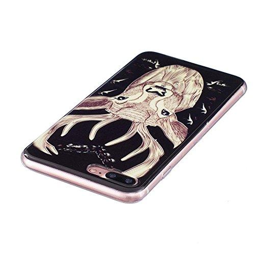 """Apple iPhone 7 Plus / 8 Plus 5.5"""" Hülle, SATURCASE Schönes Muster Leuchtend Fluoreszierend Ultra Dünn Weich TPU Gel Silikon Schützend Zurück Case Cover Handy Tasche Schutzhülle Handyhülle Hülle für Ap Muster-1"""