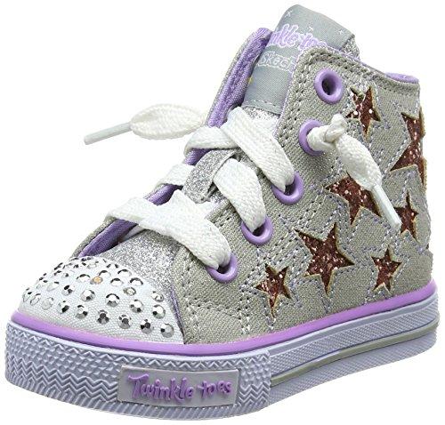 Skechers Mädchen Shuffles-Lil Rockin Stars Ausbilder, Silber (Silver/Lavender), 24 EU (Schuhe Hi Mädchen Star)
