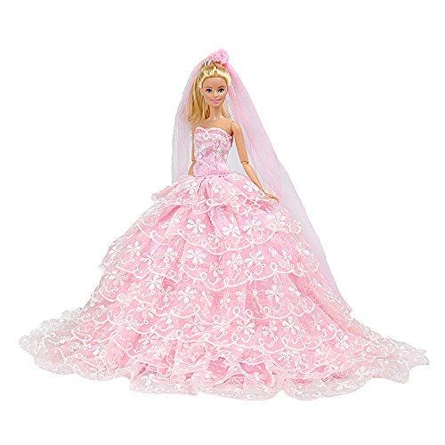 E-TINGPrinzessinPuppeKleidBarbieKleidungCinderellaAbendParty-Outfit+SchleierSetfürBarbiePuppebesteGeschenkfürIhreMädchen (Cinderella Deluxe Kleid)