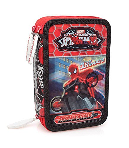 "Disney – Spiderman – 3 Zip estuche por la escuela ""Spider Cycle"""