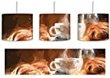 Leckere Tasse Kaffee mit frischen Croissants inkl. Lampenfassung E27, Lampe mit Motivdruck, tolle Deckenlampe, Hängelampe, Pendelleuchte - Durchmesser 30cm - Dekoration mit Licht ideal für Wohnzimmer, Kinderzimmer, Schlafzimmer
