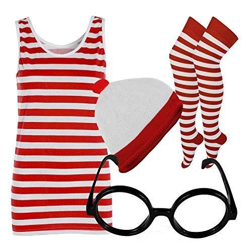 OT UND WEIß GESTREIFT T-SHIRT DAMEN WESTE OBERTEIL HUT BRILLE - Komplettes Set, 36 (Nerd-outfits Für Mädchen Halloween)