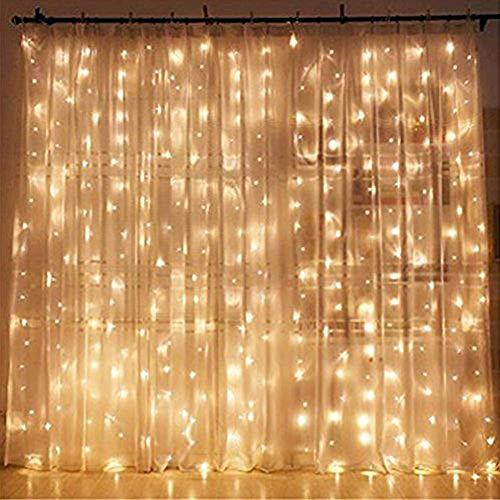 CREASHINE Tenda con Catena di Luci LED, 3 x 3 m, impermeabilità IP44, Stelle LED A Catena di Luce, Tenda di Luci per Natale, Decorazione Feste, Interni