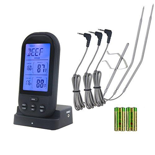Grill Dual-funktion (Wireless BBQ Fleisch Thermometer mit 3wasserdichten Prüfspitzen, DIGITAL Instant Lesen Ofen Thermometer mit Kochen Timer Funktionen, 230Füße Reichweite, Akku im Lieferumfang enthalten für Küche, Smoker, Grill)