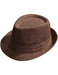Gysad Protección Solar al Aire Libre Sombrero Panama Unisex Jazz Cap  Vintage Sombrero de Paja 981c358559e