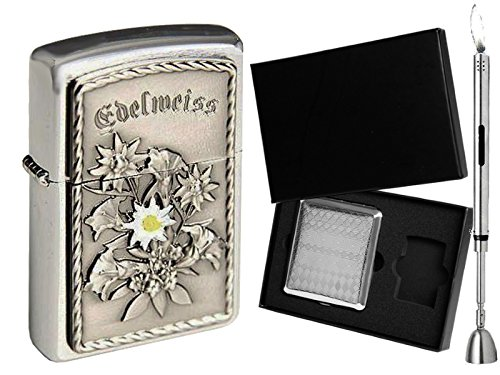 Zippo Feuerzeug EDELWEISS Emblem & Geschenkset Wählbar + R-S Stabfeuerzeug Chrome (Zigarettenetui Geschenkset)