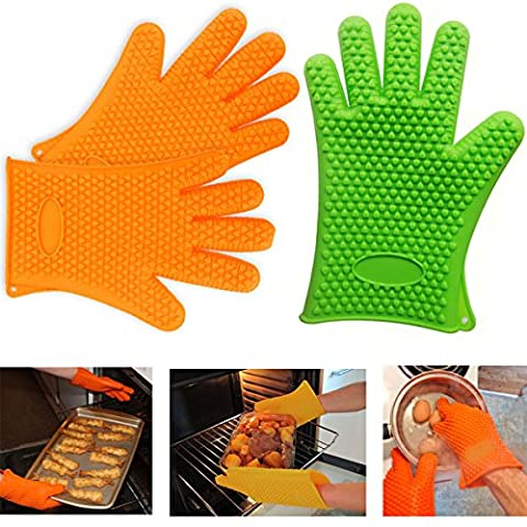 JJOnlineStore - 2 Pcs Non Slip Silicone Easy Grip Hot Temperature Heat Resistant Silicone Insulated (Chefs Mitt)