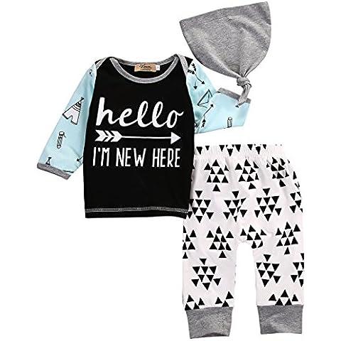 3pcs/set neonato ragazzi ragazze parole Stampa Top Pantaloni Cappello Outfits