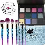 makeup glitter Eyeshadow, Lover bar 12colori ombretto palette + 7PCS make up pennelli set + eyeliner stencil-waterproof Sleek evidenziatore Contour kit-beauty cipria Blender Bronzer Foundation