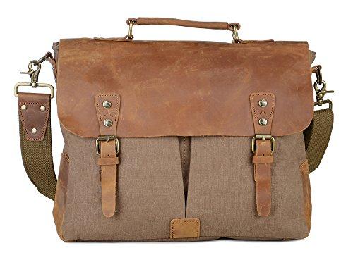 Gootium 21108BR-L Vintage Canvas Tasche Messengerbag für Damen/Herren, 39cm, 12,5l, braun