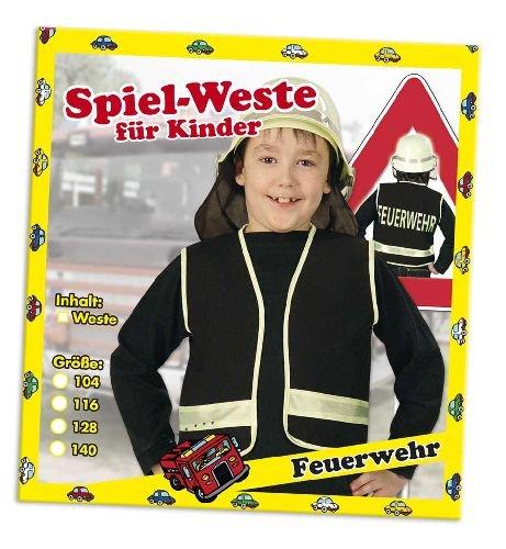 Spielweste Feuerwehr Kinder Feuerwehrweste schwarz140