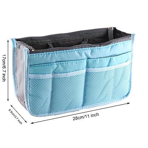 Yihya Donne Travel Organizer Bag Viaggiare Organizzatore Sacchetto Borsa Pouch con Doppia Zip Fodera Inserire Tasche Multiple Tidy Cosmetici Pouch Borsa --- ( Vino rosso ) Blu