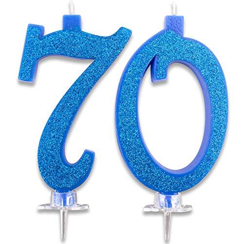 agskerzen Maxi 70 Jahre für Geburtstagskuchen 70 Stück Deko Kerzen Auguri Idee Festa Tempel Höhe 13 cm Blau Glitter ()