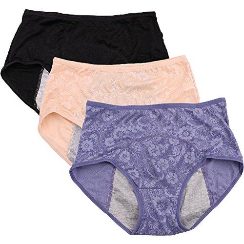 Frauen Menstruation Slip Jacquard Easy Clean Slip Multi Pack Größe 36-50 Schwarz, Blau, nackt