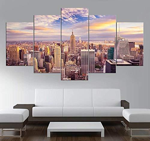 xvhsx Leinwanddrucke 5 Stück Leinwand Kunst Landschaft Manhattan New York Wolkenkratzer Usa Hd Drucken Bild Auf Leinwand Wandkunst Dekorationen Kunstwerk -