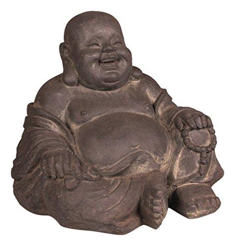 Statue Happy Buddha Outdoor (Stone-lite Drop 838lz Buddha Happy bestellen, Verpackung Statue, schwarz, 46x 42x 42cm)