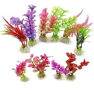 10X Aquariumpflanzen Künstliche Keramik Aquarium Pflanzen Terrarium Deko Farbig