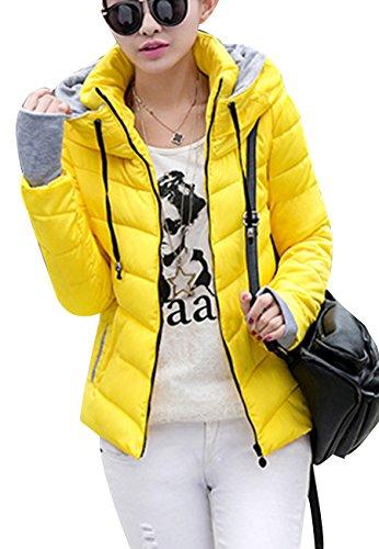 OMZIN Damen Damen Reißverschlüsse Outdoor Windbreaker Verdicken Jacke Gelb L (Mantel Insulated Camo Jacke)