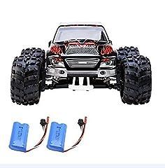 Idea Regalo - Crenova RC Monster Truck RTR WJL00019, Macchina Telecomandata, Scala 1/18 a 4 Ruote Motrici 48km/h Con Radiocomando Da 2.4 GHz Auto RC, Set Di 2 Batterie Ricaricabili