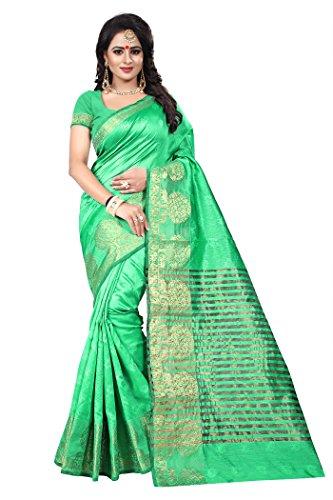 Ecolors Fab Women's Cotton Silk Saree(Pb-Half-Saree) (Green)