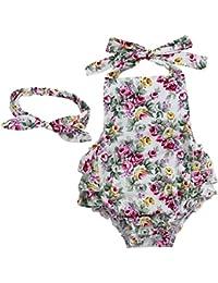 iiniim Pelele Flores Estilo Bebé Niñas Pijama de Rompers Algodón Bowknot Enrejado impresión Mono De Verano
