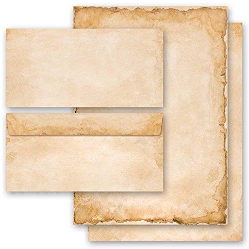 20-tlg. Briefpapier Komplett-Set VINTAGE 10 Blatt Briefpapier + 10 passende Briefumschläge DIN LANG ohne Fenster