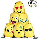 Emoji Drawstring Backpack Bag Set for Kids and Teens - Boys and Girls, Gym Bag / Party Favors, Set of 6