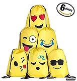 Emoji Kordelzug Rucksack Tasche Set für Kinder und Jugendliche - Jungen und Mädchen, Sporttasche/Party Zubehör, 6 Stück