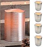 4er SetLED-Wachs-Kerzen-Set Leuchten Wachs Flammenlos Silber mit gelb flackernedem Licht ØxH ca. 7,5 x 10 cm