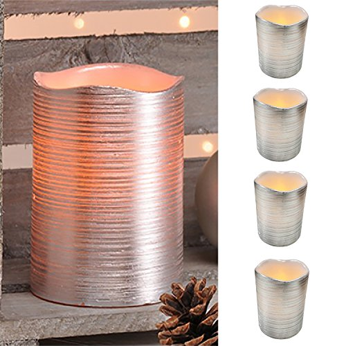 4setled de cera de velas Juego de Leuchten Cera sin llama plata con amarillo flackernedem Luz Alt aprox. 7,5x 10cm