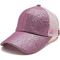 gorras beisbol, Sannysis Gorra para hombre mujer Sombreros de verano gorras de camionero de Hip Hop Impresión bordada, talla única Gorras de béisbol para hombre Sombreros y gorras, Lentejuelas brillantes (rosa)