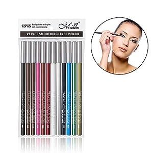 Lápiz de cejas, 12 piezas Colorido delineador de ojos Lápiz de ojos a prueba de agua de larga duración Herramienta de maquillaje de ojos profesional Kit de maquillaje de ojos